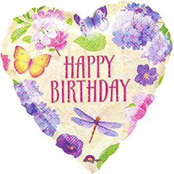 Happy Birthday Balloon Heart Shaped With Spring Flowers Butterfly