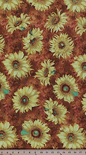 Cotton Slice of Sunshine Sunflowers Flowers Cotton Fabric Print by the Yard Q1419-79255-855 (Stores Furniture Wilmington)