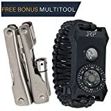 Rescue Survival Knife - Tactical Outdoor Survival Paracord Bracelet – FREE MULTITOOL 60% BIGGER Compass than Competition! LED Flashlight Fire Starter Emergency Knife Whistle Great for Hiking Camping Hunting Fishing! (Medium)