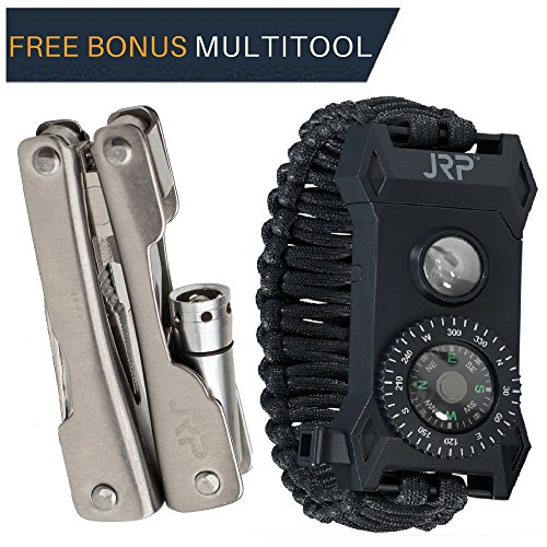 Tactical Outdoor Survival Paracord Bracelet – FREE MULTITOOL 60% BIGGER Compass than Competition! LED Flashlight Fire Starter Emergency Knife Whistle Great for Hiking Camping Hunting Fishing! (Small) - Bravo Steel Knife