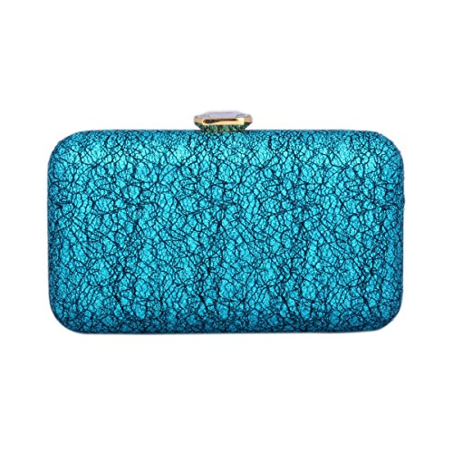 Damara Womens Bling Metal Frame Clutch Rhinestone Snap Evening Bag Blue
