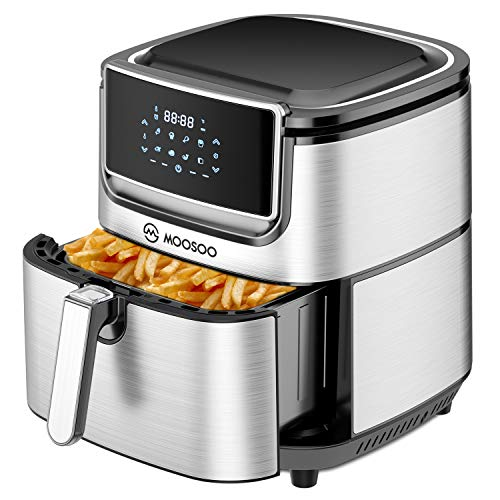 MOOSOO Air Fryer, 8-in-1 Oil-less Electric Air Fryer with LED Digital Touchscreen, Stainless Air Fryer 1800W, quickly heated and baked, MA40