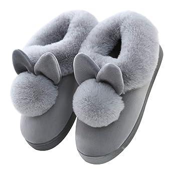 nouvelles promotions vente moins chère gros en ligne Scrox 1 Paire Peluche Pantoufles en Coton Modélisation du Lapin à Fourrure  Chaussons Automne Hiver Femme Accueil Slippers Chaussures-Gris Taille ...