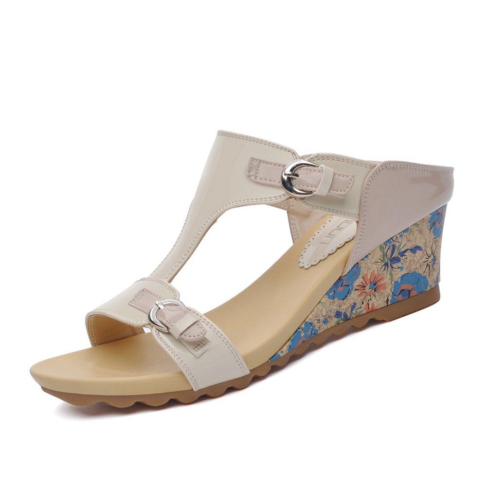 CAI Frauen Schuhe PU dick-unten Mauml;dchen Hausschuhe Sommer 2018 Neue Mode Sandalen und Hausschuhe Schuhe Oberbekleidung Flip-Flops Damen Sandalen (Farbe : Beige, Grouml;szlig;e : 36)  36|Beige