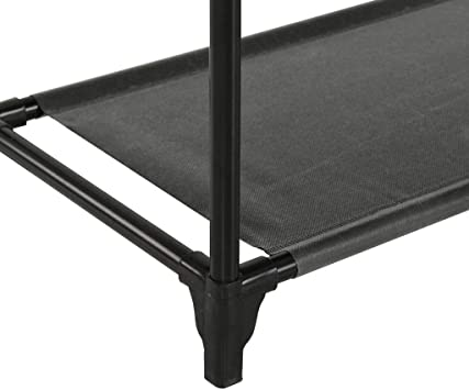 vidaXL Porte-v/êtements Acier et Tissu Non-tiss/é 55x28,5x175 cm Noir Chambre