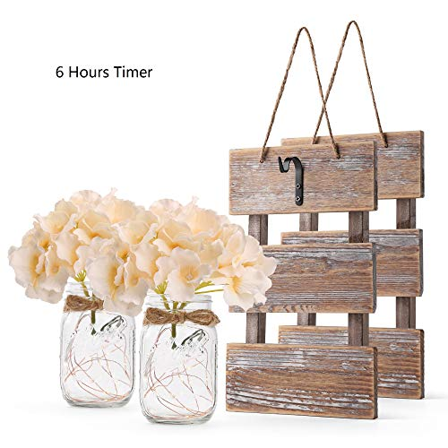 GBtroo Rustic Brown Mason Jar Sconces for Wall Decor, Decorative Chic Hanging House Decor Mason Jars with LED Strip Lights, 6-Hour Timer, Silk Hydrangea, Iron Hooks for Home & Kitchen Decorations ()