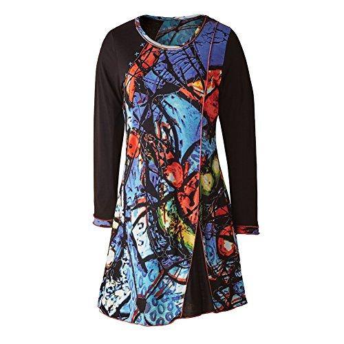 CATALOG CLASSICS Women's Tunic Top - Morning Sky Artistic Print Long Blouse - 1X
