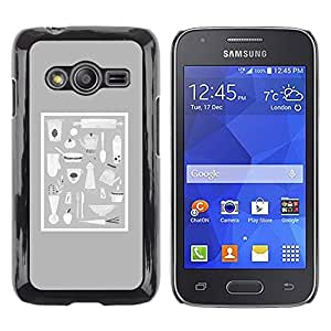 TopCaseStore / la caja del caucho duro de la cubierta de protección de la piel - Grey Food Kitchen Culinary Pan Chef Utensils - Samsung Galaxy Ace 4 G313 SM-G313F