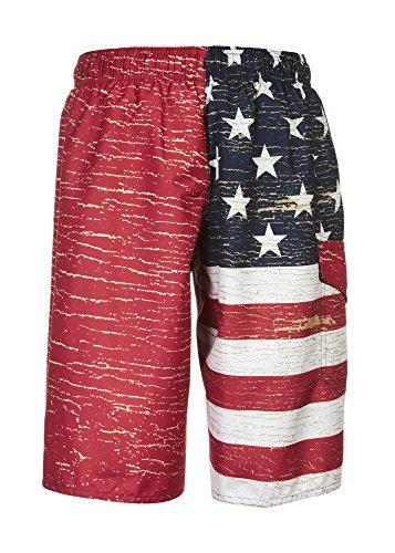 Laguna Boy's American Flag USA Board Short Swimwear Trunks Red-18/20 by Laguna (Image #4)