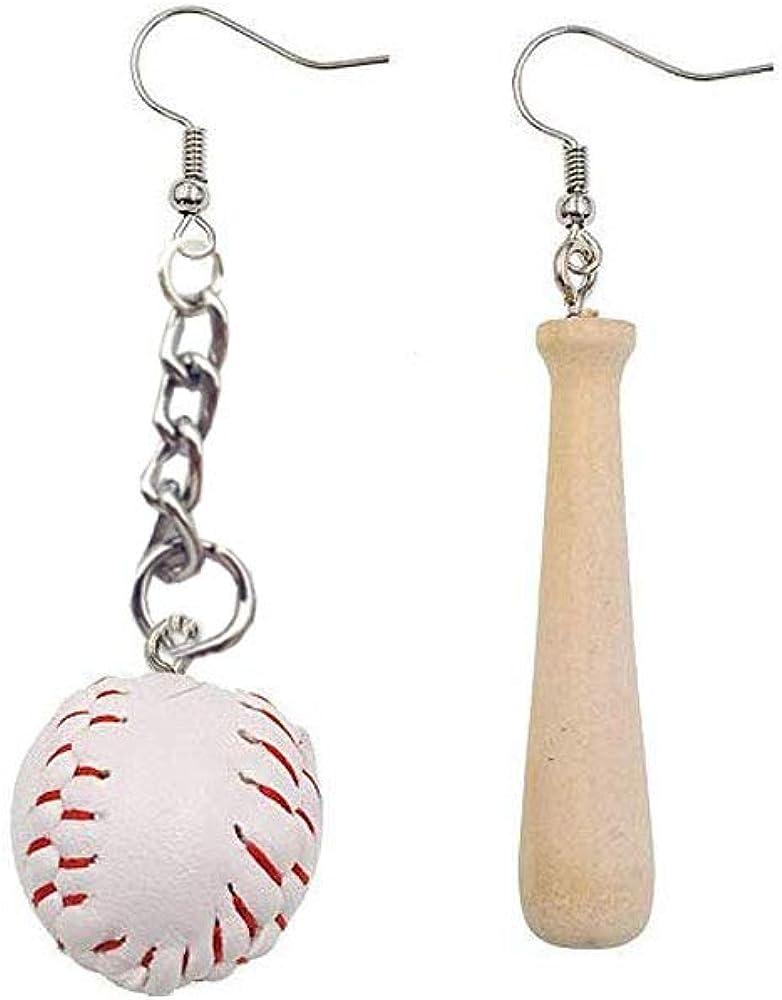 BAUNA Baseball Earrings 3D Baseball Pendant Dangle Earrings Asymmetric Earrings Jewelry for Sport Lover Baseball Games leather teardrop earrings Gifts