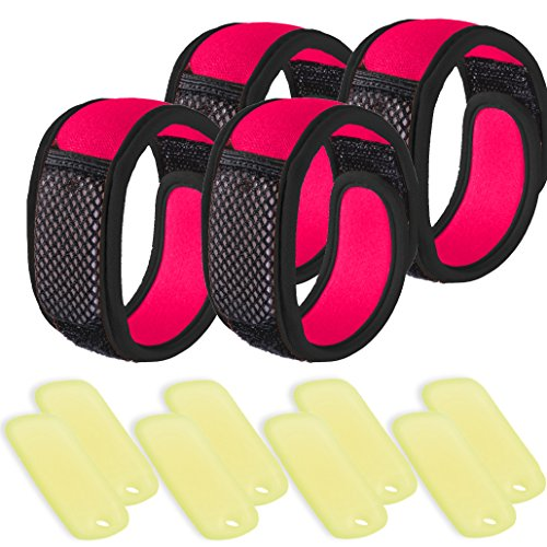 NextGen Outdoors Mosquito Repellent Bracelets DEET FREE (4-Pack) with Extra Refills 50% of the profits will be donated to help fund Breast Cancer (Pink w/ Black Border)