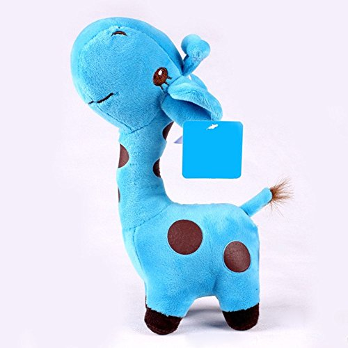 1x Unisex Baby Kid Cute birthday Gift Plush blue Giraffe Soft Toy Animal Dear Doll 25x11cm (Paint Brush Birthday Candles)