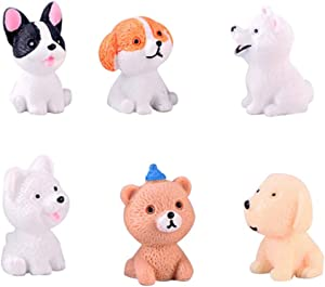 COOLTOP 6PCS Miniature Cute Cartoon Resin Dog Decorations Ornaments Toy Figures Cake Topper Doggies Playset Punny Series Statue Gift for Fairy Garden Micro Landscape Car Home Garden Mix Style