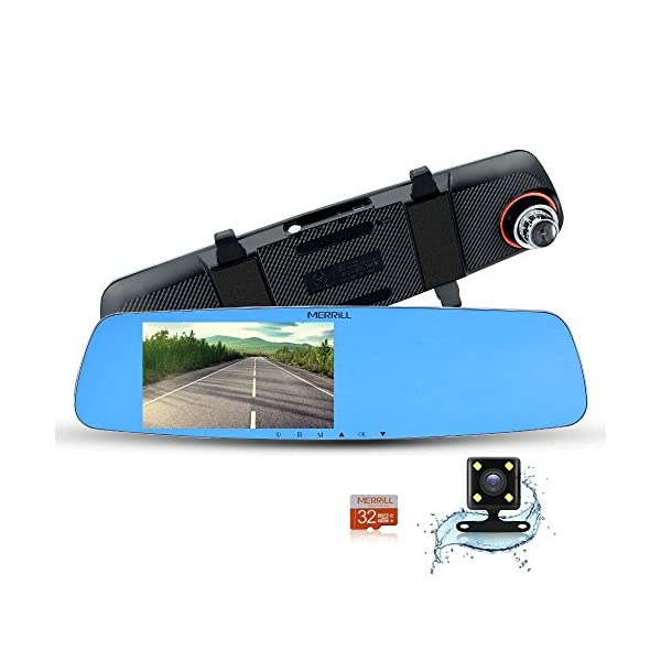 MERRiLL Dash Cam Dual Cameras 1080P 5'' IPS 170° Wide Angle Night Vision 15 Megapixel And 32GB Card