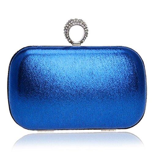 EPLAZA Women Rhinestone Beaded One Ring Evening Clutch Bags Handbags Bridal Wedding Party Purse (blue)