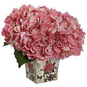 Nearly Natural Hydrangea with Vase Silk Flower 50