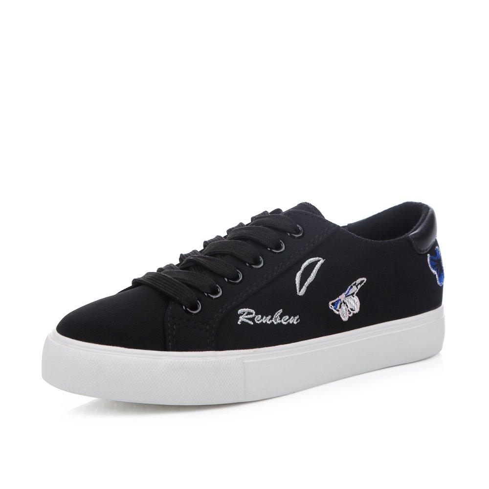 Koyi Bordado Pequeños Zapatos Blancos Femeninos de Encaje de Moda Plana Zapatos Casuales Deportivos Alpargatas Zapatillas de Deporte 37 EU|Black