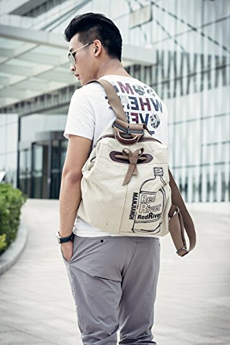 EasyHui Canvas Printed Satchel Convertible Backpack Crossbody Bag Women Vintage Shoulder Handbag Unisex Travel Backpack Beige by EasyHui (Image #7)