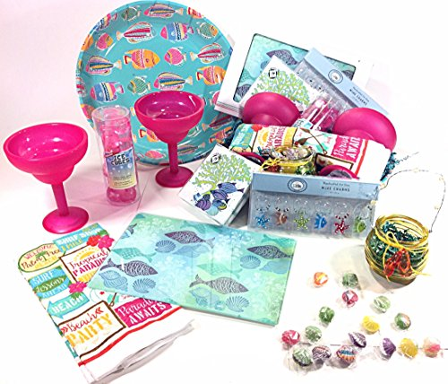Mothers Day Summer Gift Basket Hostess Set - Koppers Candy, Wine Glass Charms, Margarita Cups, Cutting Board & Much More (P)
