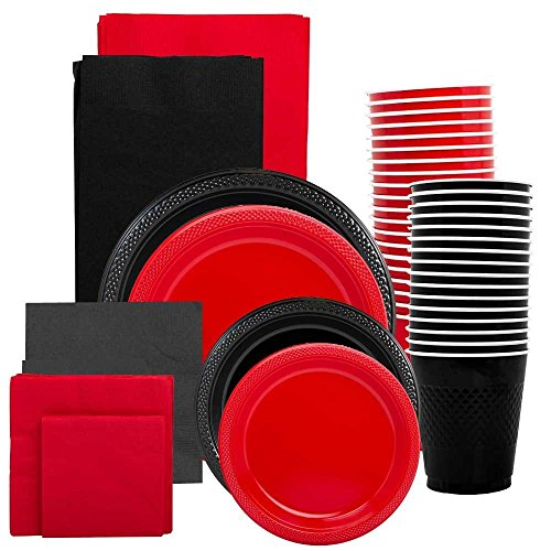 JAM Paper Party Supply Assortment - Red & Black Grad Pack - Plates (2 Sizes), Napkins (2 Sizes) , Cups & Tablecloths - 12/pack