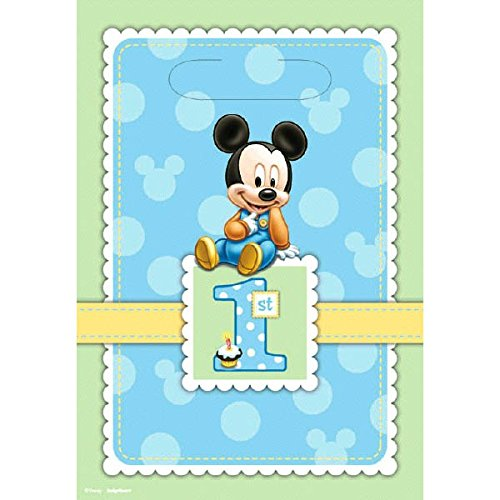 8 Count Mickey's 1st Birthday Folded Loot Bag - Party Folded Treat Sack
