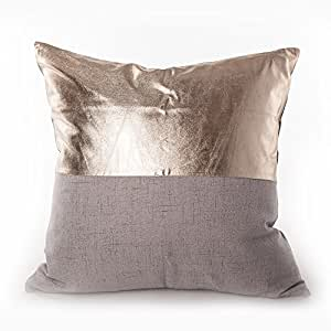 "Sugar home metallic pillow Decorative Throw Pillow COVER 18"" (grey)"