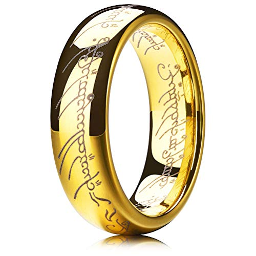 (THREE KEYS JEWELRY 6mm The One Ring Lord of The Rings Style Tungsten Ring Gold Color Lord Rings Laser Etched Size 6.5)