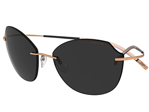 91dca36cec5 Amazon.com  Silhouette Sunglasses Titan Minimal ART The Icon 8158 (rose  gold shiny   polarized grey lenses)  Clothing