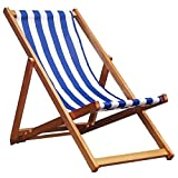 Oypla Traditional Folding Hardwood Garden Beach Deck Chairs Deckchairs