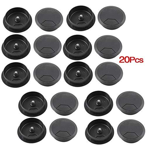 (Ochoos PC Desk Black Plastic 50mm Diameter Flip Top Grommet Cable Hole Cover 20 Pcs )