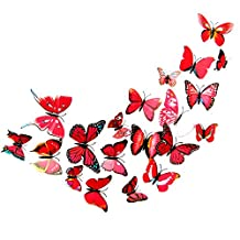 12 PCS 3D Vivid Special Man-made Lively Butterfly Art DIY Decor Wall Stickers Decals for Home Nursery Decoration Red
