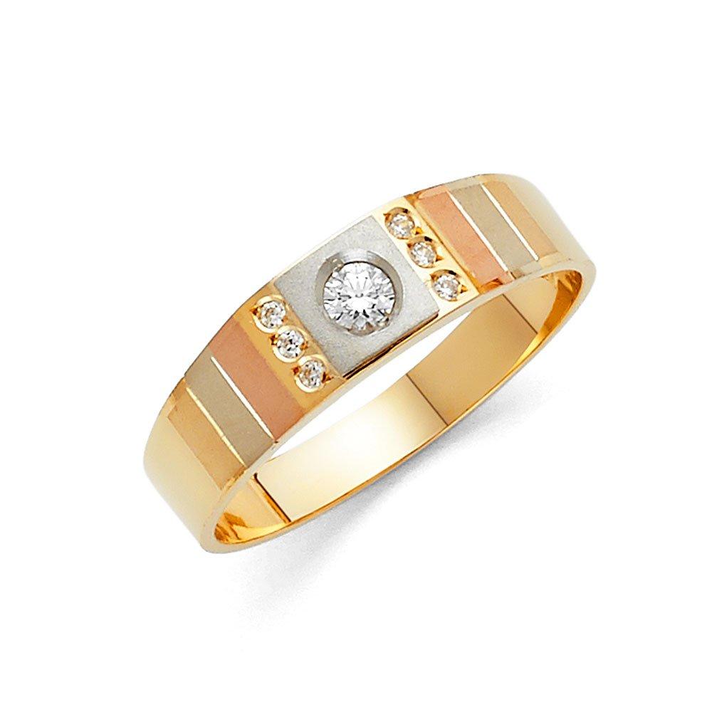 Wellingsale hombre sólido 14 K Tri Color Oro Pulido CZ Cubic Zirconia boda banda: Wellingsale®: Amazon.es: Joyería