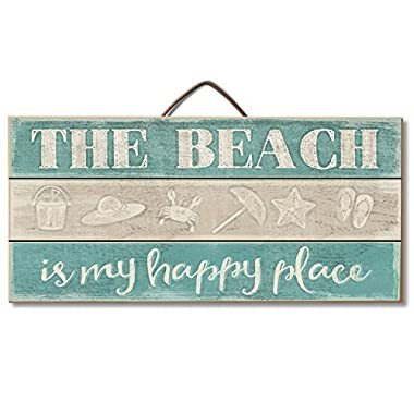 Highland Graphics Tropical Decor Wood Sign Reads  The Beach is My Happy Place  for Table or Wall Decor