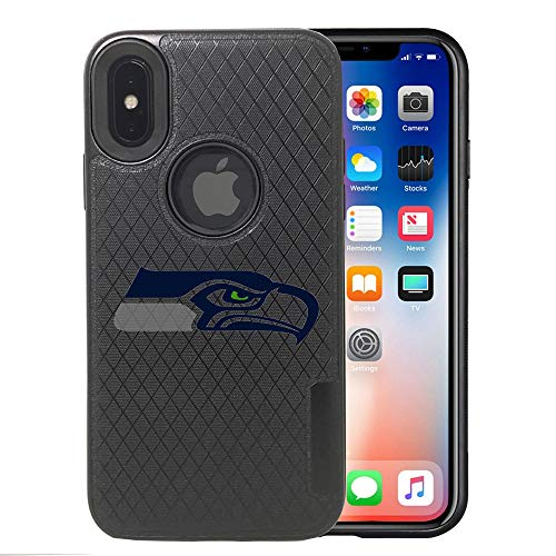 Seahawks iPhone X Case, iPhone Xs Seahawks Case, Seahawks Carbon Fiber Pattern Anti-Scratches Non Slip Sturdy Protective Back Cover Flexible Rubber Edges, with Metal Plate Disc for Magnetic Car Mount