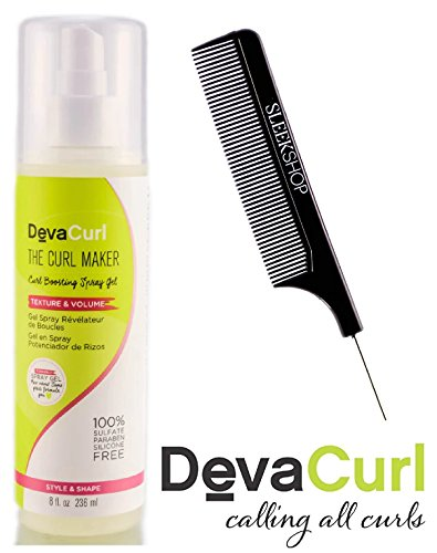 DevaCurl THE CURL MAKER, Curl Boosting Spray Gel, TEXTURE & VOLUME (with Sleek Steel Pin Tail Comb) 100% Sulfate-Paraben-Silcone-FREE, STYLE & SHAPE (8 oz/236 - Boosting Gel Spray