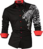 Sportrendy Men Slim Casual Long Sleeves Button Down Dress Shirt JZS041...