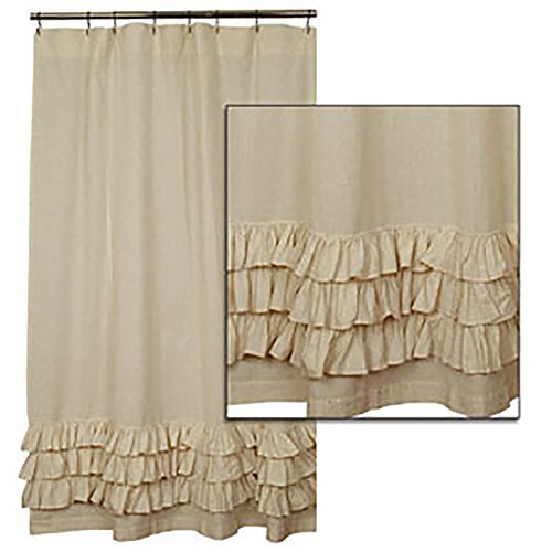 Flax Ruffled Shower Curtain By the Country House Collection, 72