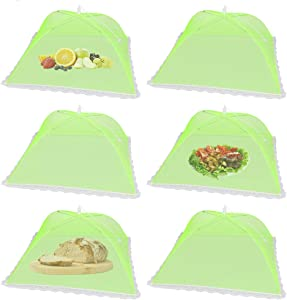 (6Pack) Pop-up Picnic Food Tent Covers, 17x17Inch Green Foldable Mesh Screen Food Covers for Outdoors, Reusable Food Cover Net Keep out Flies, Mosquitoes
