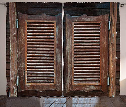 (Ambesonne Western Curtains, Antique Themed Traditional Rustic Wild West Swinging Wooden Cowboy Bar Saloon Door, Living Room Bedroom Window Drapes 2 Panel Set, 108 X 84 Inches, Dark Brown)