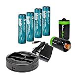 Olight Omni-DOK Universal Battery Charger with AC adapter, 12V DC (Car) power cords, Four Olight 3400mAh Protected 18650 Rechargeable Li-ion Batteries and 2 X EdisonBright AA to D type battery spacer/converters