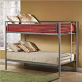 Hillsdale Universal Youth Twin over Twin Metal Bunk Bed in Silver Finish For Sale