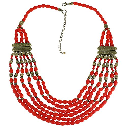 Coral Red Multi Layered Bib Statement Necklace Indian Fashion (Cheap Asian Costume Jewellery)