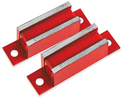 Master Magnetics LM-20BX2 Magnet Catch, Industrial Type with Mounting Holes Painted Red, 3'' Length, 0.75'' Width, 0.562'' Height, 20 Pounds (Pack of 2) by Master Magnetics