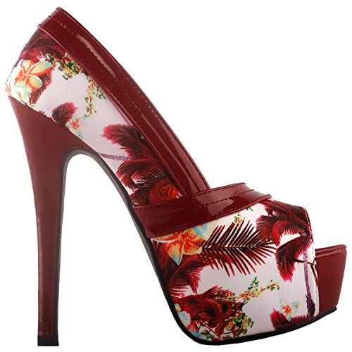 SHOW STORY Red Floral Print Bow Party Evening Stiletto Pumps,LF80824RD41,10US,Red