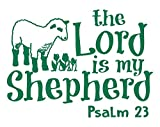 Psalm 23 for Kids Wall Decal is a Vinyl Poster Wall Decor Displaying a The Lord is My Shepherd Bible Quotes Inspirational Wall Art for Women, Men or Children's Room - Green