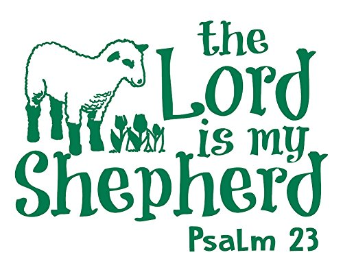 Psalm 23 for Kids Wall Decal is a Vinyl Poster Wall Decor Displaying a The Lord is My Shepherd Bible Quotes Inspirational Wall Art for Women, Men or Children's Room - Green by WallDecalsAndArt (Image #10)