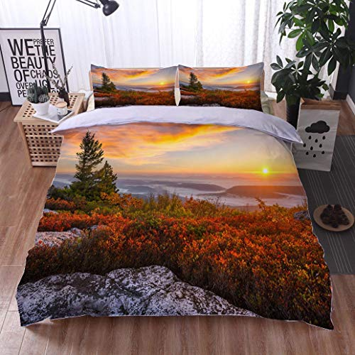 HOOMORE Bed Comforter - 3-Piece Duvet -All Season, Scenic Sunrise and Autumn Foliage west Virginia,HypoallergenicDuvet-MachineWashable -Twin-Full-Queen-King-Home-Hotel -School