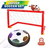 Toys : Betheaces Kids Toys Soccer Goal Set Hover Football with 2 Gates for Kid Christmas Gifts Sports Boys Girls Air Power Training Ball Indoor Outdoor Disk Game with LED Lights and Mini Screwdriver