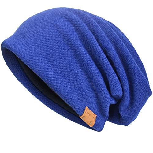 - VECRY Men's Cool Cotton Beanie Slouch Skull Cap Long Baggy Hip-hop Winter Summer Hat (Blue)
