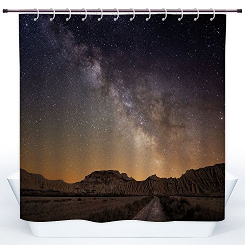 SCOCICI Cool Shower Curtain,Night,Milky Way over Desert of Bardenas Spain Ethereal View Hills Arid Country Decorative,Plum Apricot Chocolate,Polyester Shower Curtains Bathroom Decor Set with Hooks by SCOCICI